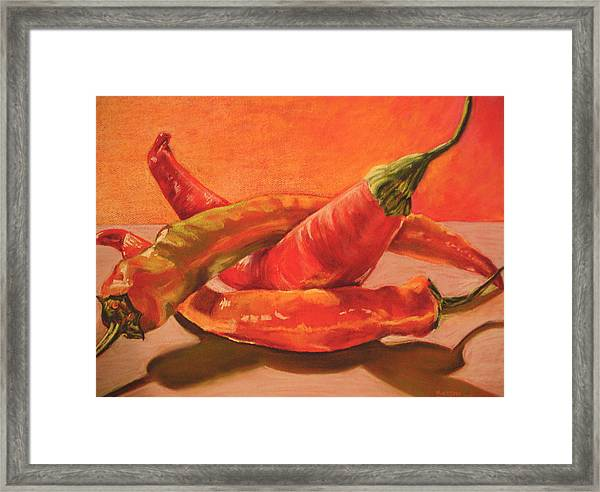 Peppers Playing Twister Framed Print