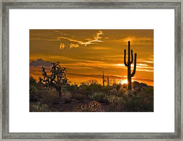 Peralta Arizona Sunset Framed Print