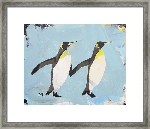 Framed Print featuring the painting Perfect Penguins by Candace Shrope