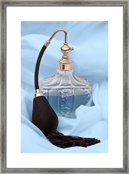 Perfume Bottle Still Life I In Blue Framed Print