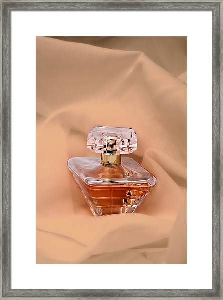 Perfume Bottle Still Life IIi In Peach Framed Print