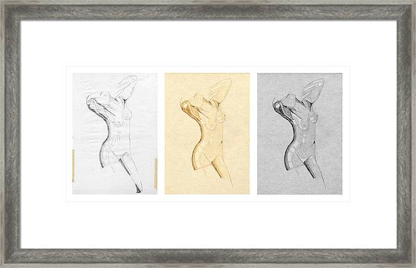 Perfume Of Venus - Triptych - Homage Rodin Framed Print