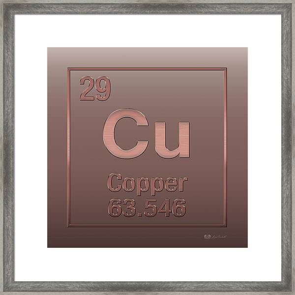 Periodic Table Of Elements - Copper - Cu - Copper On Copper Framed Print