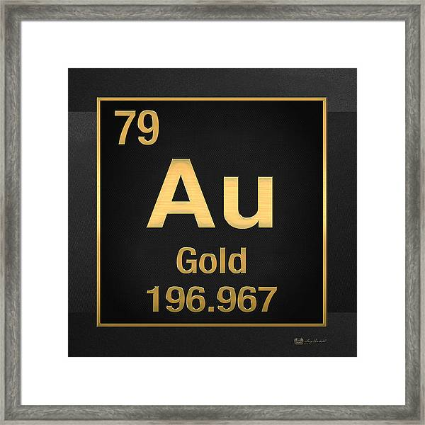 Periodic Table Of Elements - Gold - Au - Gold On Black Framed Print