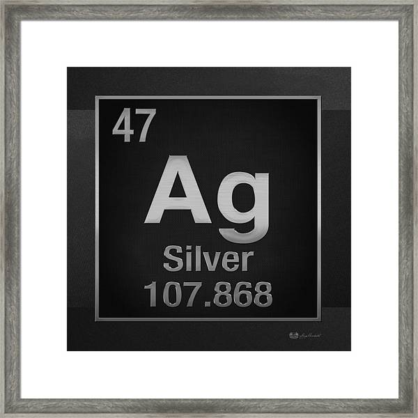 Periodic Table Of Elements - Silver - Ag - Silver On Black Framed Print