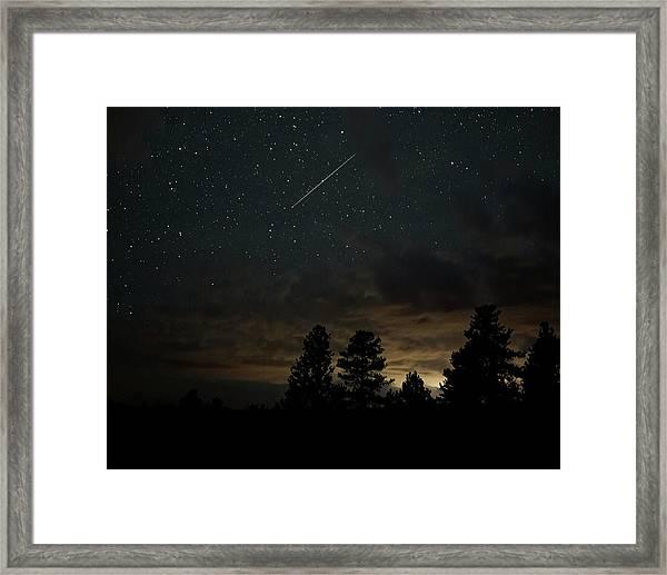 Framed Print featuring the photograph Perseid Meteor by Bill Gabbert
