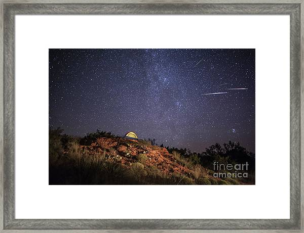 Perseids Over Caprock Canyons Framed Print