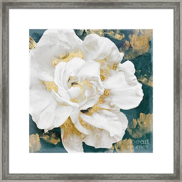 Petals Impasto White And Gold Framed Print