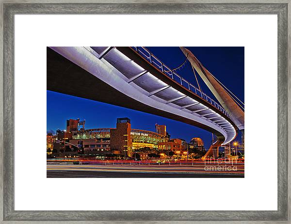 Petco Park And The Harbor Drive Pedestrian Bridge In Downtown San Diego  Framed Print