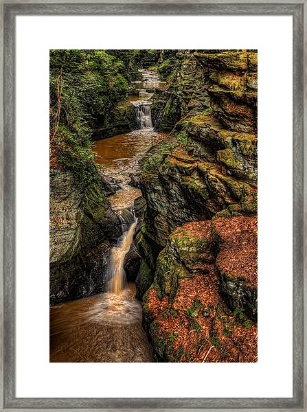 Pewits Nest Three Waterfalls Framed Print