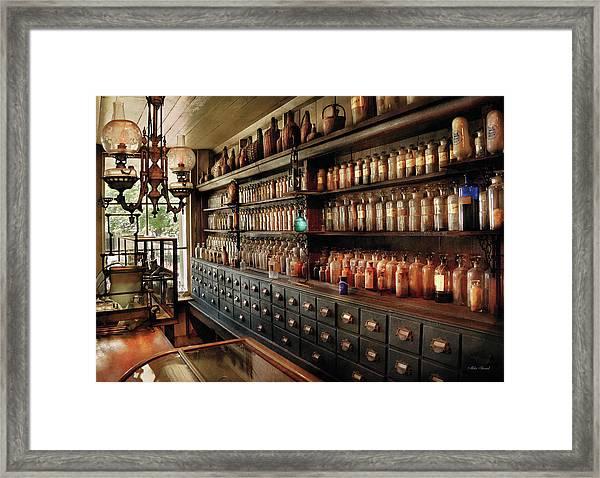 Pharmacy - So Many Drawers And Bottles Framed Print