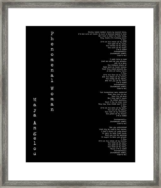 Phenomenal Woman By Maya Angelou - Feminist Poetry Framed Print