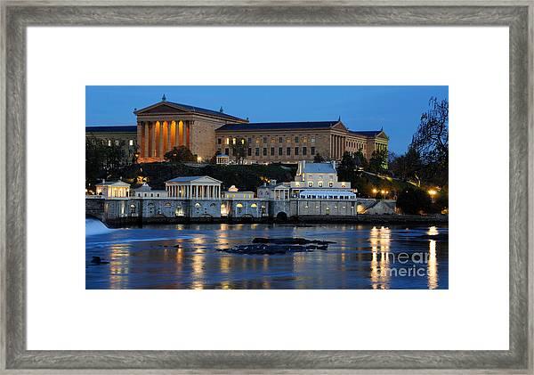 Philadelphia Art Museum And Fairmount Water Works Framed Print