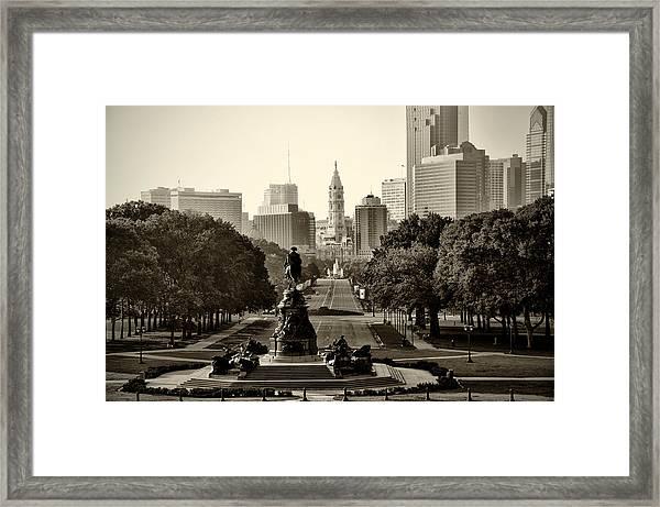 Philadelphia Benjamin Franklin Parkway In Sepia Framed Print