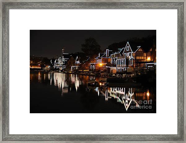 Philadelphia Boathouse Row At Night Framed Print