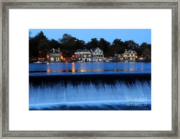 Philadelphia Boathouse Row At Twilight Framed Print