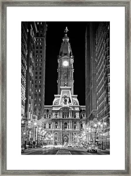 Philadelphia City Hall At Night Framed Print