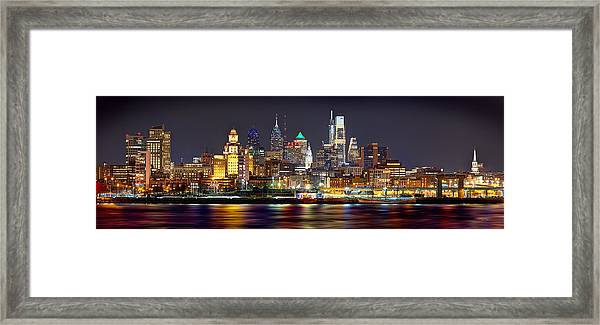 Philadelphia Philly Skyline At Night From East Color Framed Print