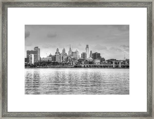 Philadelphia Skyline In Black And White Framed Print