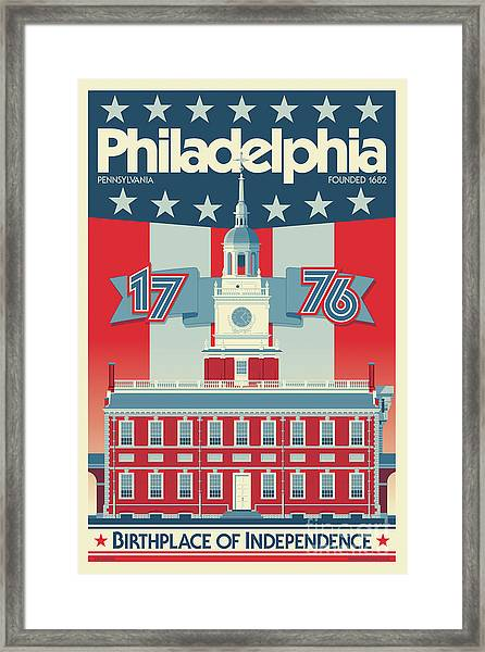 Philadelphia Poster - Independence Hall Framed Print