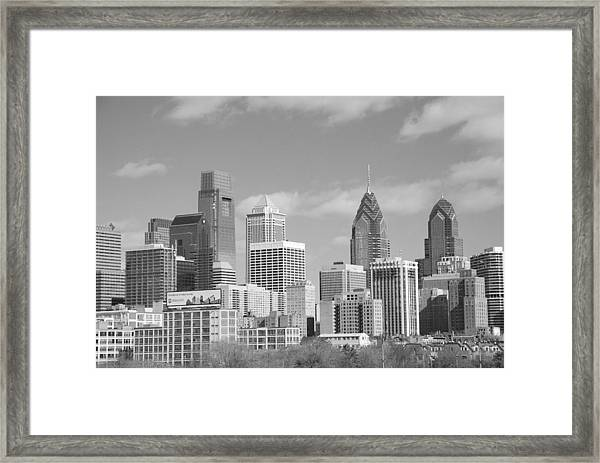 Philly Skyscrapers Black And White Framed Print