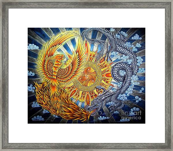 Phoenix And Dragon Framed Print