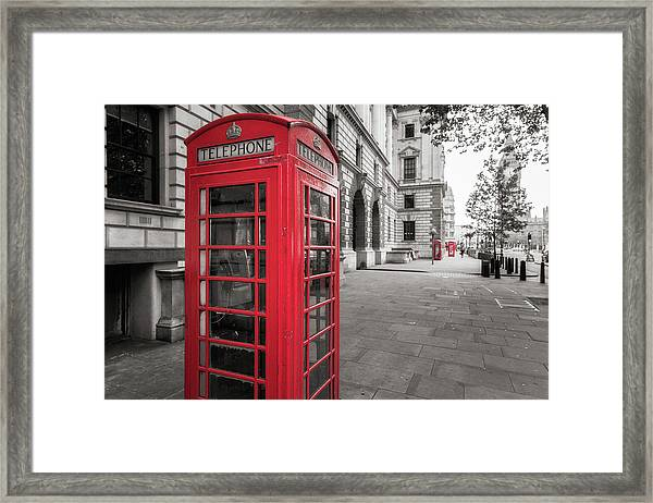 Phone Booths In London Framed Print