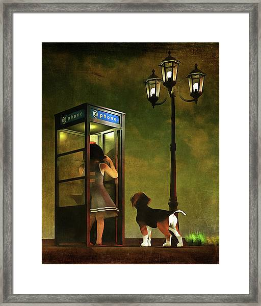 Framed Print featuring the painting Phoning Home by Jan Keteleer