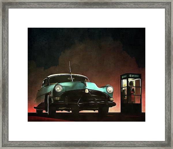 Framed Print featuring the painting Phoning Woman by Jan Keteleer