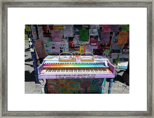 Piano At Tack Board On Sproul Plaza At The University Of California Berkeley Dsc6249 Framed Print