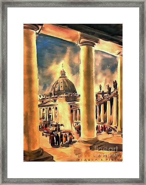Piazza San Pietro In Roma Italy Framed Print