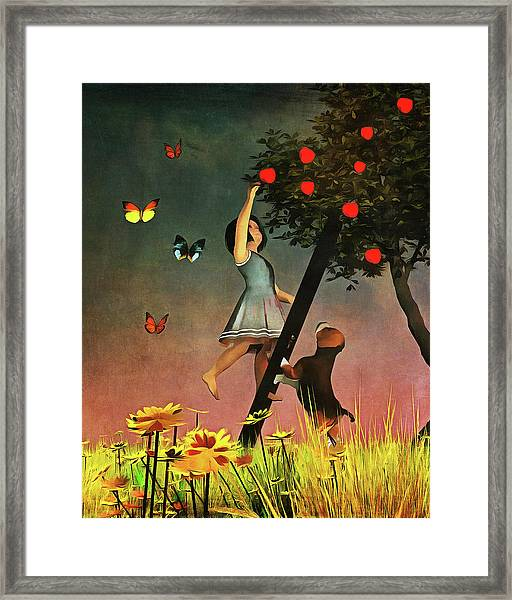 Framed Print featuring the painting Picking Apples Together by Jan Keteleer