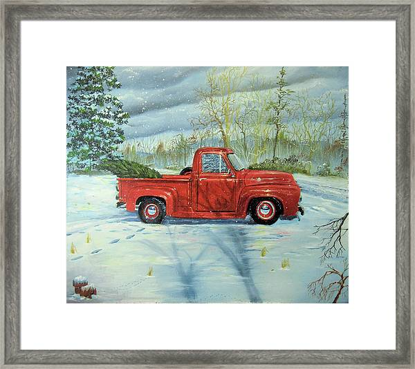 Picking Up The Christmas Tree Framed Print