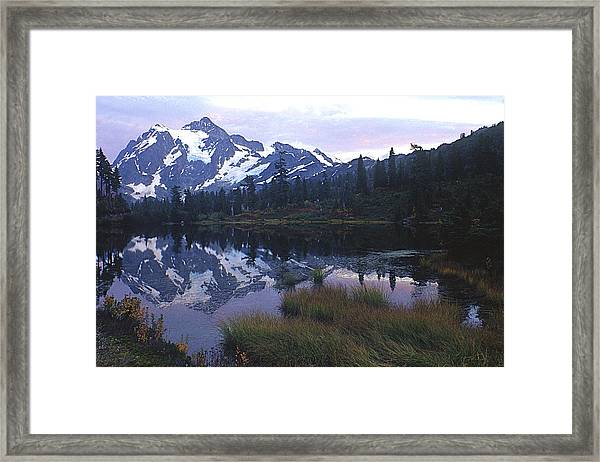 Picture Lake - Mt. Shuksan Framed Print
