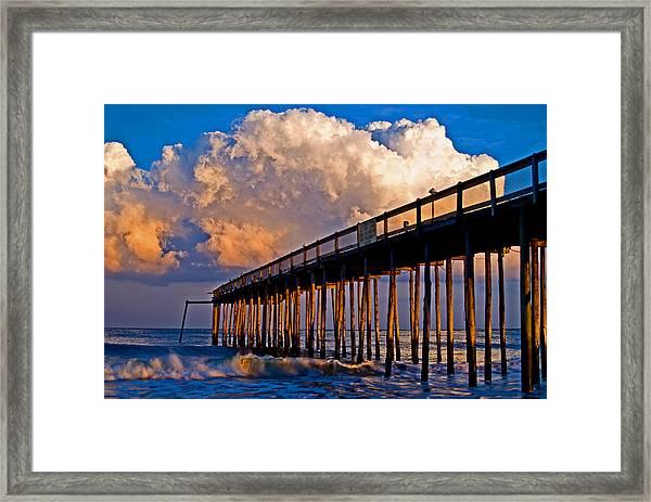 Pier At Sundown In Ocean City Framed Print
