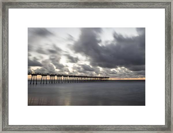 Pier In Misty Waters Framed Print