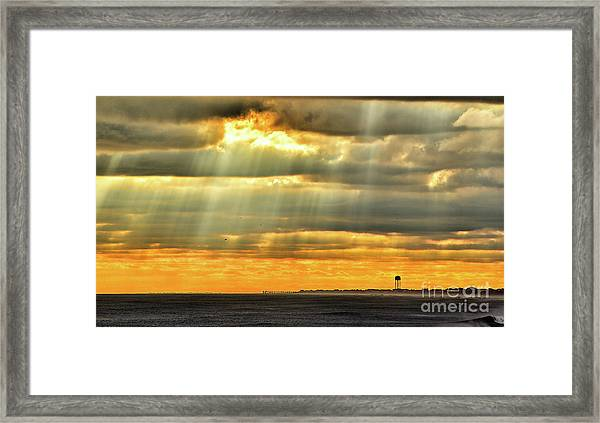 Framed Print featuring the photograph Pier Rays by DJA Images