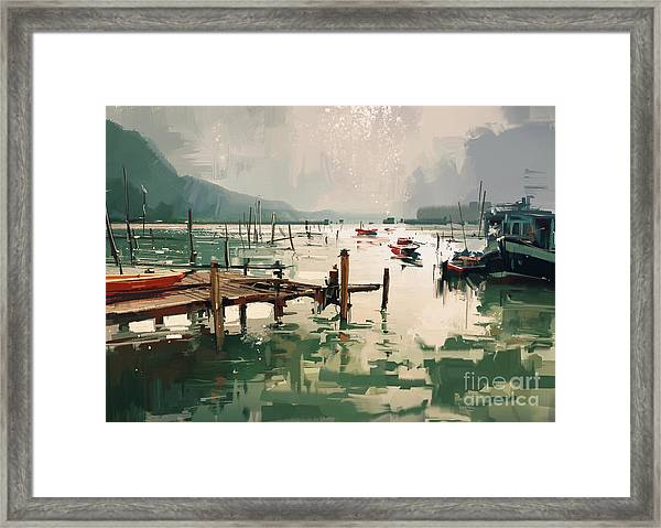 Framed Print featuring the painting Pier by Tithi Luadthong