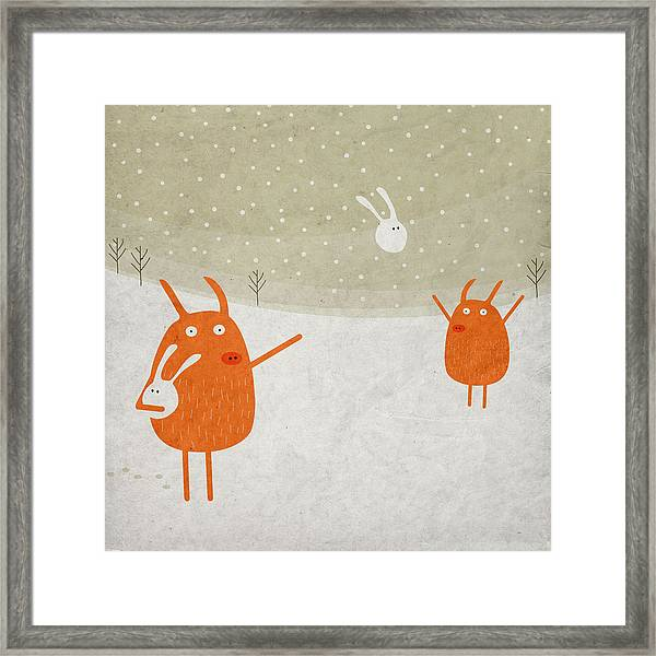 Pigs And Bunnies Framed Print