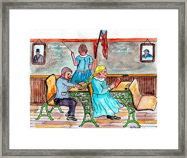 Pigtails And Inkwells Framed Print