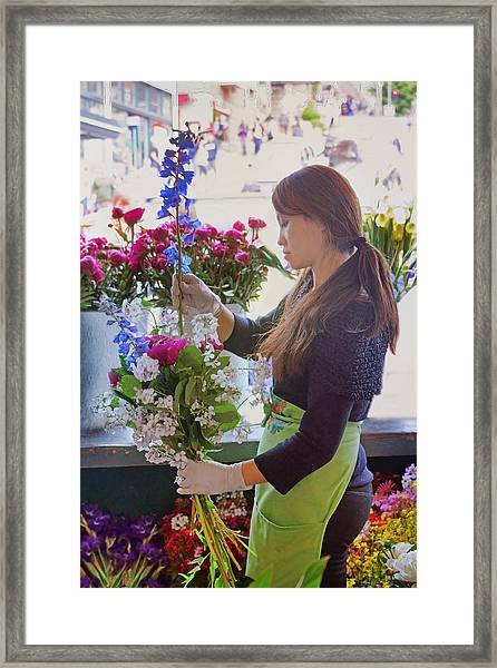Pike Place Market - Flower Vendor Framed Print by Nikolyn McDonald