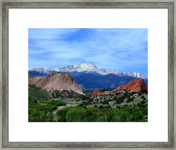 Framed Print featuring the photograph Pikes Peak And Garden Of The Gods 1 by Joseph R Luciano
