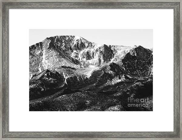 Pikes Peak Black And White In Wintertime Framed Print