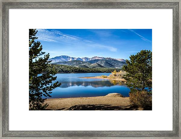 Pikes Peak Over Crystal Lake Framed Print
