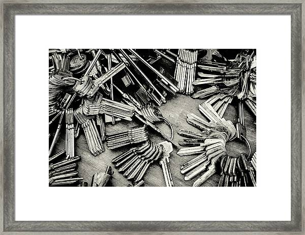 Piles Of Blank Keys In Monochrome Framed Print