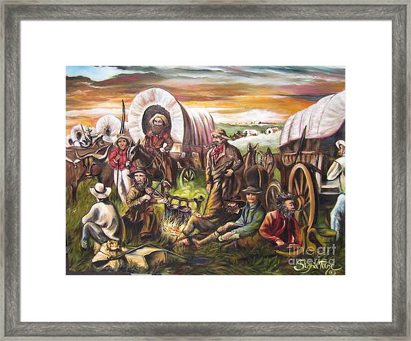 American    History  Pilgrims On The Plain Framed Print