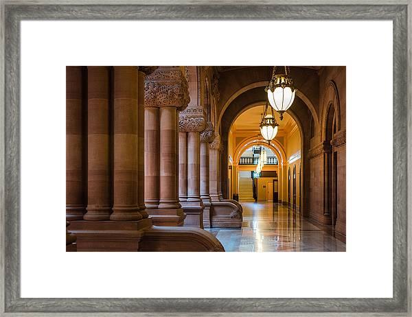Pillar Hallway Framed Print