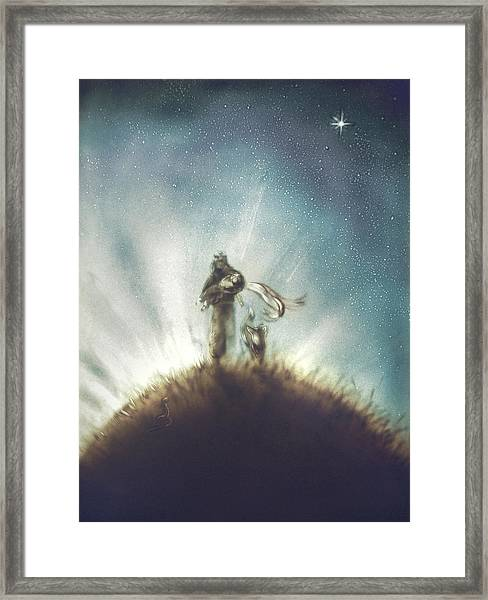 Pilot, Little Prince And Fox Framed Print