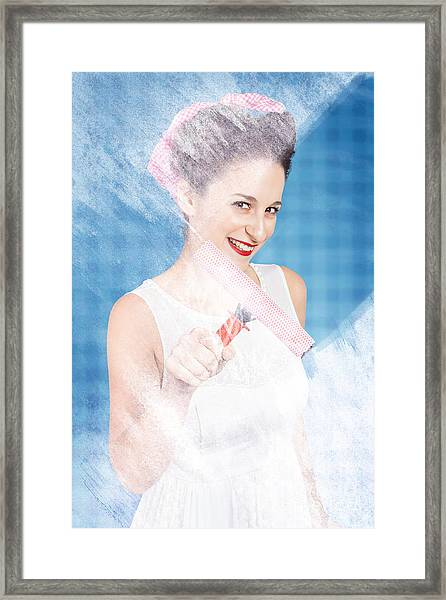 Pin Up Cleaning Lady Washing Glass Shower Door Framed Print