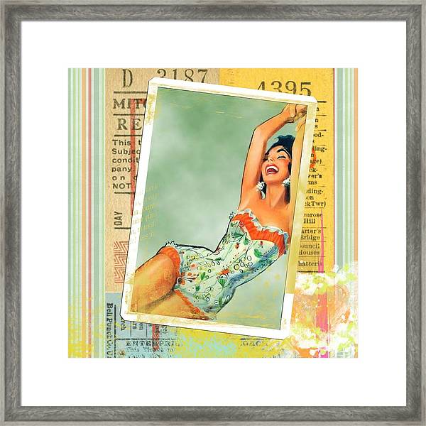 Pin Up Girl Square Framed Print